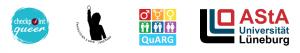 logos des asta lüneburg, des quarg, des bündnis feministischer 8. märz lüneburg und des checkpoint queer e.v.
